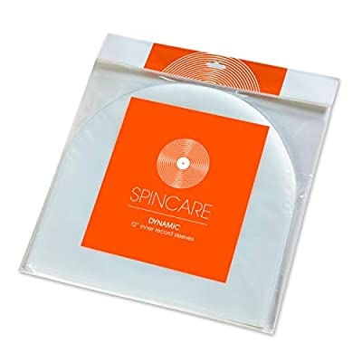 50x SPINCARE DYNAMIC 12 Inch Anti Static Inner Vinyl Record Sleeves | Premium Quality 50 Micron HDPE Rounded Bottom Plastic LP Album Protective Sleeve | For Replacing Cardboard PVC & Paper Inner Sleeves