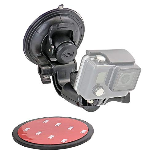 Car Camera Mount (Quick-Removal) with 3M Disk and 360 Degree Roation for GoPro Hero 9 8 7 6 5 4 3+ 3 2 1 Session