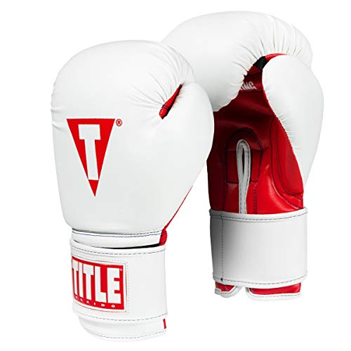 Title Boxing Essential Boxing Gloves, White/Red, 12 oz