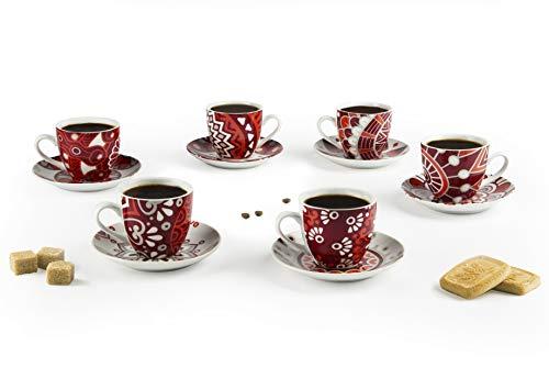 Excelsa Mandala Red Set 6 Tazas de café con platillo, Porcelana