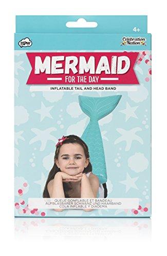 Kinderen zeemeermin voor de dag, opblaasbare staart en hoofdband, blauw Eén maat zeemeerminnen.