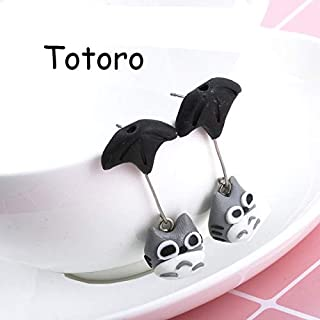 1 Pair Women Girl Valentine Handmade 3D Cartoon Animal Polymer Clay Earrings Ear Studs Jewelry Eardrop Brincos Bijoux - (Metal Color: Totoro)