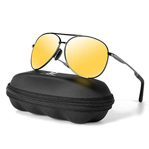 MXNXEU Sonnenbrille Herren Pilotenbrille Polarisiert Pilotenbrille Polarisierte Sonnenbrille Herren Outdoor Pilot Unisex UV400 Fahren Sonnenbrille-Nachtsicht/Asche