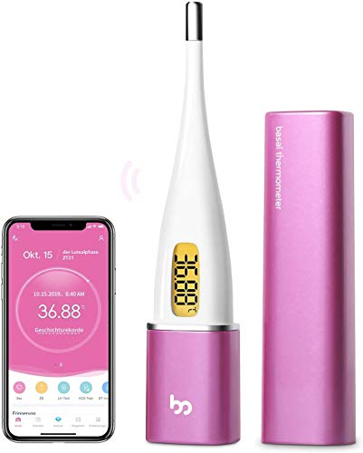 Femometer Vinca II-Basalthermometer Bluetooth zur zykluskontrolle, mit Intelligentes APP (iOS & Android) für Eisprung & Zykluskontrolle, Digital beleuchtet Fruchtbarkeitsthermometer für NFP