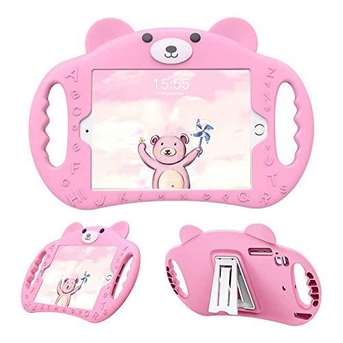 PZOZ - Carcasa infantil compatible con iPad de 9,7 pulgadas, modelo 2018/2017, 6ª y 5ª generación, funda de protección antigolpes para niños, con soporte, color rosa