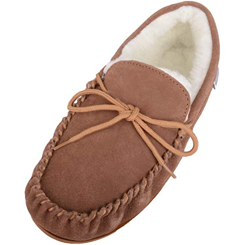 SNUGRUGS Mens Suede Lambswool Moccasin Slippers & Rubber Sole, Light Brown,...