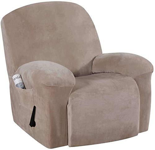 erddcbb Funda reclinable de Terciopelo elástico, con Bolsillo Lateral Funda reclinable eléctrica de 1 Pieza, Funda de sofá Antideslizante Ultra Suave para niños Pets-Taupe-1-piece