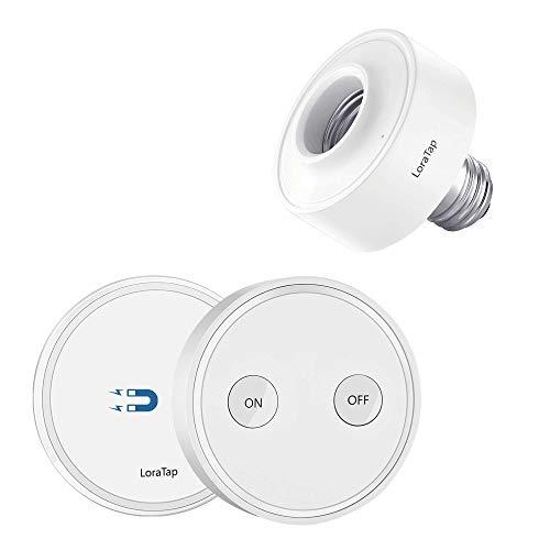 LoraTap Wireless Remote Control E26 Light Bulb Socket Lamp Switch Kit 656ft 915MHz Range Remote Control LED Light Fixtures 30W Max. (Light Switch + LED Lamp Holder)