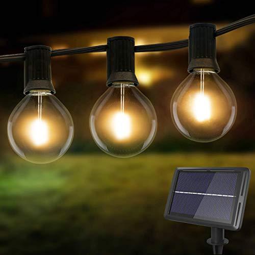 Litogo Guirnaldas Luces Exterior Solar, 8m G40 25+2 LED Cadena de Luces...