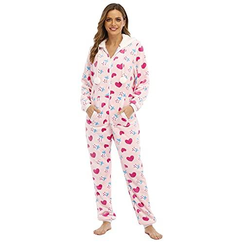 BIBOKAOKE Damen Jumpsuit Flanell Einteiler Overall Anzug Flauschig Pyjama Onesie Schlafanzug mit Reißverschluss und Kapuze Strampler Nachtwäsche Hausanzug Long Sleeve Bodysuit Loungewear