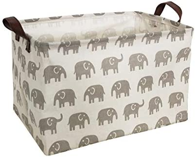 HIYAGON Rectangular Laundry Baskets,Fabric Storage Bin Storage Boxes,Collapsible Storage Basket for Toy, Clothes,Books.Shelves Basket(Grey deers)