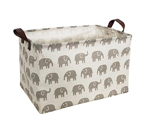 HIYAGON Rectangular Laundry Baskets,Fabric Storage Bin Storage Boxes,Collapsible Storage Basket for Toy, Clothes,Books.Shelves Basket(Grey elephant)