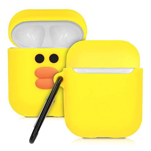 kwmobile Hülle kompatibel mit Apple AirPods Kopfhörer - Silikon Schutzhülle Hülle Cover Entchen Orange Schwarz Gelb