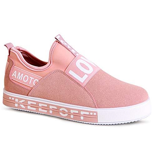 topschuhe24 Mujer Zapatillas de Plataforma Derby Sneaker, Color:Rosa, Número de Zapato:39 EU