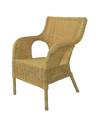 Rattansessel Sessel Rattanstuhl Korbsessel Stuhl Rattan Farbe: Beige (Color : Sessel ohne Kissen)