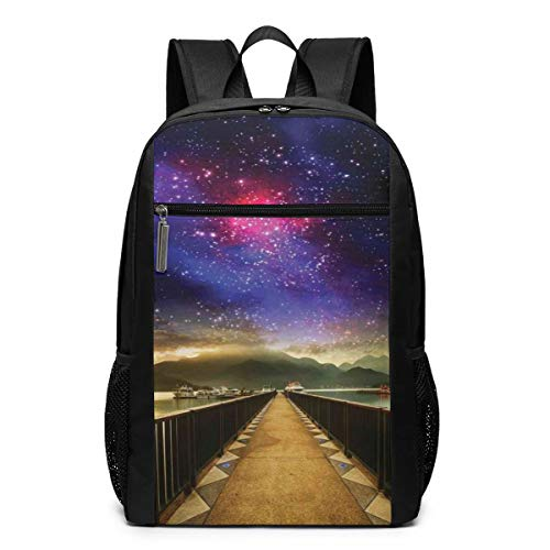 17 Inch School Laptop Backpack,Galaxy Cosmos Wooden Bridge Panoramic View Celestial Print,Casual Daypack for Business/College/Women/Men