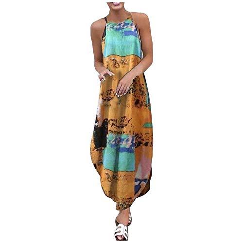 Hniunew Women Exotic Tie-dye Printing Maxi Dress Floral Side Split Casual Loose Sundress Short Sleeve Summer Beach Cami Dress Yellow