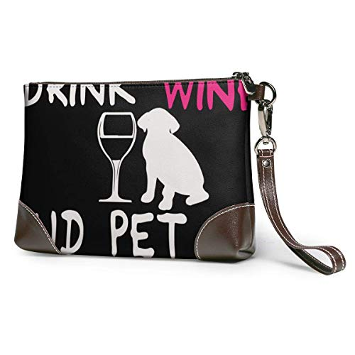 GLGFashion Carteras de cuero para mujer I Just Want To Drink Wine And Pet My Dog Print Women's Leather Wristlet Clutch Purses Portable Makeup Cosmetic Bag Handbag Organizer Wallet With Zipper