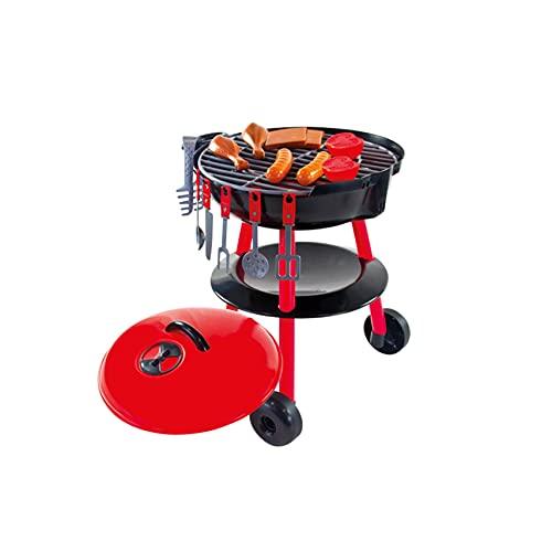 Woopie Barbecue Grill Kinder Kochen Küche Spielzeug Indoor Outdoor | Garten mit BBQ-Zubehör Kleinkinder Spielen Lebensmittel Besteck Holzkohle ab 1 Jahr