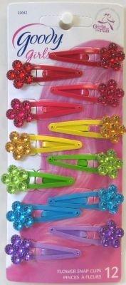 Goody Barrettes clic-clac décorées de fleur - 12/paquet (6 paquets)