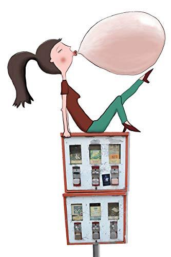 Coole lustige fröhliche Postkarte | Mädchen auf Kaugummi Automaten | Kaugummiblase
