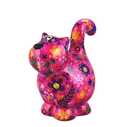 Pomme Pidou Chat Dorothy | Tirelire en Céramique | Motif Rose avec des Fleurs | 18x11x20...