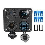 XQMY 4 en 1 Panel de Interruptor de Coche Encendido Apagado Doble USB Encendedor de Cigarrillos de Puerto 12V 4.2A Voltímetro para Marina RV Vehículos Camper Camper (Color : Blue)