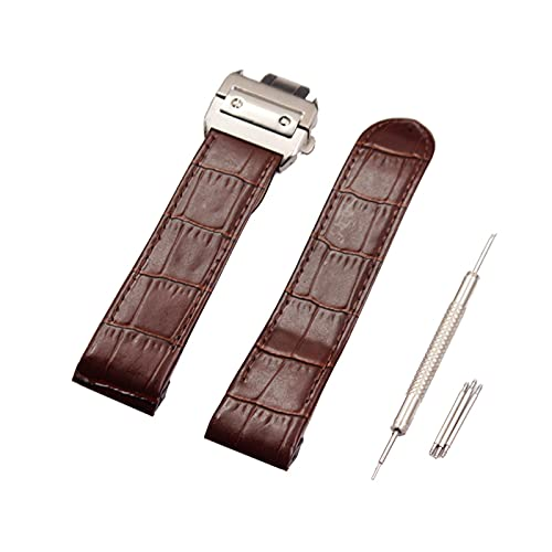 ZRNG Watch Accessories FIT For Cartier Santos Strap Leather Men And Women Santos100 Crocodile Pattern Leather Santos 23mm (Band Color : D, Band Width : 23mm)