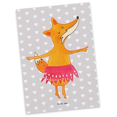 Mr. & Mrs. Panda kaart, uitnodiging, Ansichtkaart Fox Ballerina - Kleur Grijze Pastel