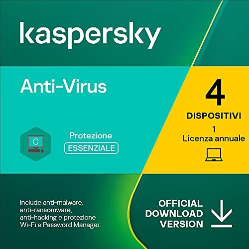 Kaspersky Anti-Virus 2021   4 PCs   1 Anno   PC   Codice d'attivazione via email