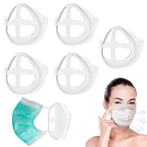 Staffa per Maschera 3D, 5 Pezzi Mascherina di supporto interno, Riutilizzabile Supporto in Silicone Fresco per una Respirazione Confortevole, Proteggere le Labbra