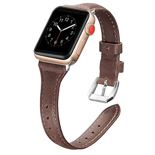 Secbolt Leather Compatible with Apple Watch Band 38mm 40mm Slim Replacement Wristband Sport Strap for Iwatch Series 6 5 4 3 2 1 Stainless Steel Buckle, Coffee