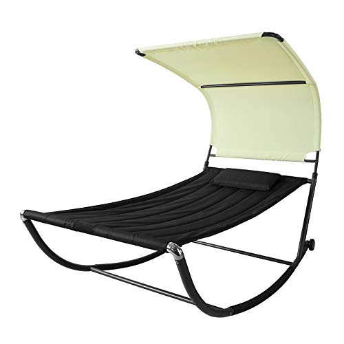 SoBuy OGS44-SCH Sonnenliege mit Sonnendach und Kopfkissen Schaukelliege Gartenbett Gartenliege mit Rollen Relaxliege Schwarz/Beige Belastbarkeit 200 kg BHT ca: 114x173x227cm