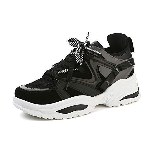 Zapatillas de Deporte de tacón Alto para Mujer Plataforma Femenina Zapatos Casuales Damas al Aire Libre Transpirable Zapatillas Gruesas con Suela Gruesa