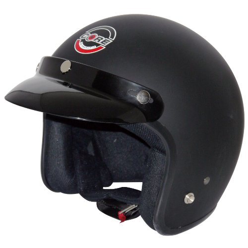 Core Vintage Open Face Helmet (Flat Black, Medium)