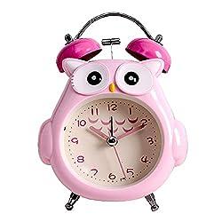 Kids Alarm Clock, Owl Loud Bell Analog Alarm Clock, Silent Non-Ticking Desk Clock with Night Light, Battery Operated, Children Clock for Girls, Teen, Bedroom-Jiangshen