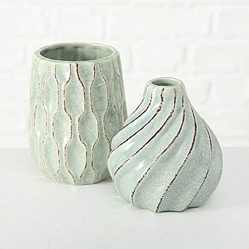 Home Collection Maison Cuisine Jardin Mobilier Accessoires Décoration Ensemble de 2 Vases en Grès à Motifs Géométriques H14cmØ10cm