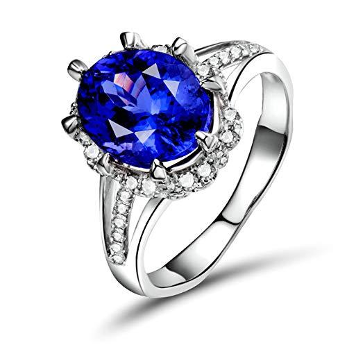 Daesar Anillo Oro Blanco 18 Kilates Mujer,Oval Tanzanita Azul 3.14ct Diamante 0.34ct,Plata Azul Talla 20
