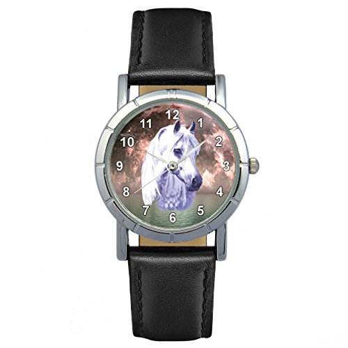 Timest - Caballo blanco - Reloj para Mujer con Correa de Cuero negro Analógico Cuarzo SA1805