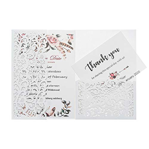 LONGBLE Hochzeitseinladung Hochzeit Einladungskarten Tri-Fold Hohl Lace Business Einladung, 20 Stück Hochzeitskarte Glückwunschkarte Grußkarte Einladungkarte, auch für Taufe,Geburtstag,Kommunion Weiß