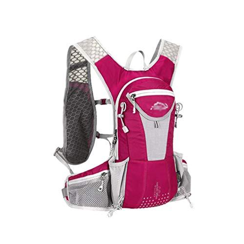 Yuanu Fahrradrucksack Wasserdicht Atmungsaktiv 12L mit Reflektierendem Streifen Perfekt für Fitness Laufen Wandern Klettern Camping Skifahren Radfahren Trekking Pink
