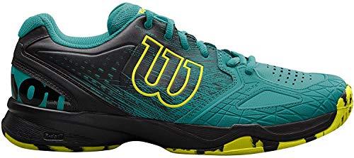 Wilson KAOS COMP, Zapatillas de tenis hombre, juego ofensivo, multiterreno, tejido/sintético, verde/negro(Tropical Green/Black/Safety Yellow), talla: 41