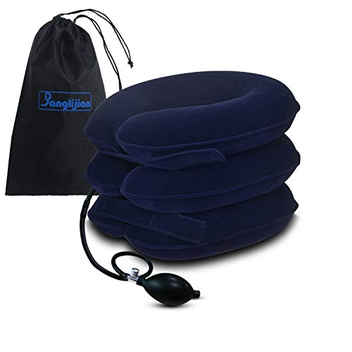 Banglijian Cervical Neck Traction Collar Device Inflatable Pillow Effective and Instant Relief for Chronic Neck and Shoulder Pain with Adjustable Size (Grey)