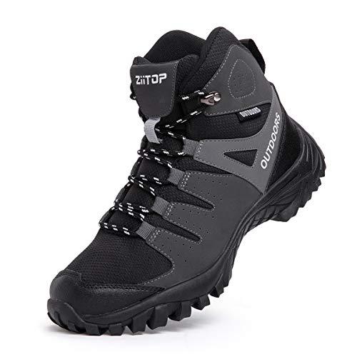 Zapatos de Senderismo Zapatillas Trekking Hombre Zapatillas Senderismo Transpirable Antideslizante Al Aire Libre Zapatillas de Deporte Negro 39-46 EU