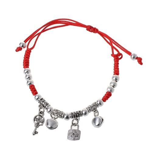 XIGAWAY Pulsera de plata antigua con cordón rojo de la suerte con protección contra el mal