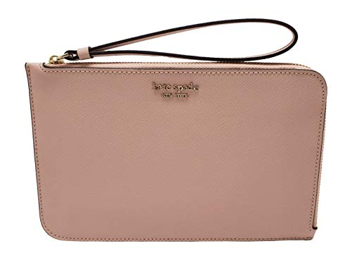 Kate Spade New York Medium L-Zip Card Case Holder Keychain Ring Floral Neutral