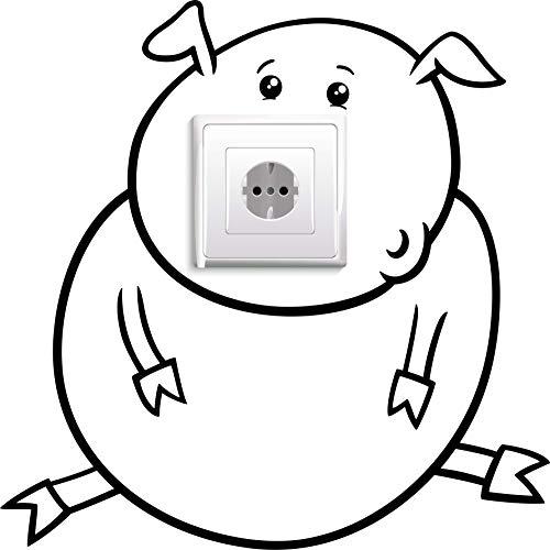 Stopcontacten/lichtschakelaar sticker varkentje
