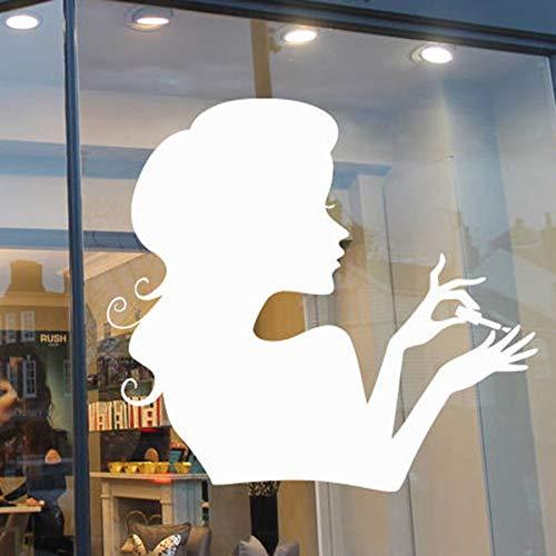 HGFDHG Calcomanía de Pared para salón de uñas, Ventana Art Deco, salón de Belleza, peluquería, habitación de niña, Vinilo, Pegatina de Pared, Papel Tapiz de Moda