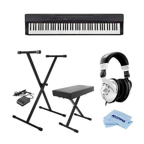 Casio PX-160 Privia 88-Key Portable Digital Piano, Black - Bundle With On-Stage KPK6520 Keyboard Stand/Bench Pack with Sustain Pedal, Behringer HPS3000 High-Performance Studio Headphones, Cloth