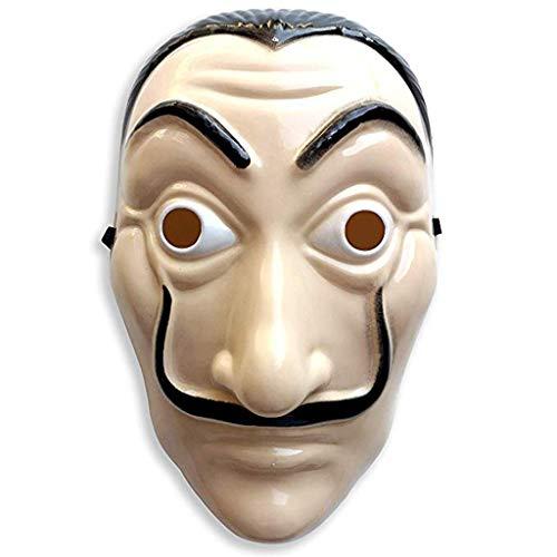 Riou Haus des Geldes Kostüm Overall mit Salvador Dali Maske Rot La casa de Papel Bankräuber Kostüm für für Herren Damen Erwachsene Fasching Karneval Halloween (Free, Beige)